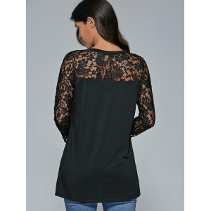 Lace Sleeve Sheer Comfy Blouse - BLACK XL