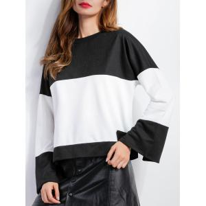 Long Sleeve Color Block Blouse -