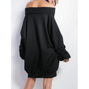 X Long Sleeve Casual Off The Shoulder Dress - BLACK XL