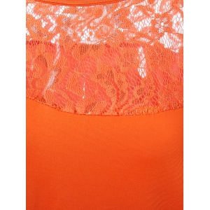 Lace Splicing Hollow Out Tee - DARKSALMON XL