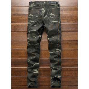 Zippered Multi-Pocket Ribbed Insert Camo Jeans -
