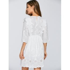 Round Neck Embroidered Eyelet Dress -