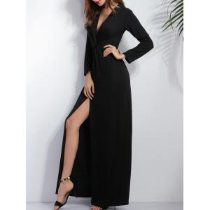 Knotted Long Sleeve Plunge Slit Maxi Prom Dress - BLACK XL