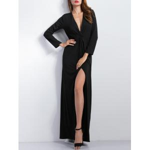 Plunge Knotted Maxi High Slit Prom Dress - BLACK M