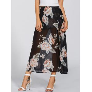 High Waisted Floral Print Maxi Skirt -