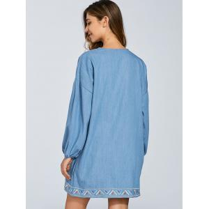 Round Neck Puff Sleeve Embroidered Denim Dress -