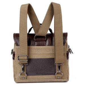 Double Buckle Snap Closure PU Leather Messenger Bag - KHAKI
