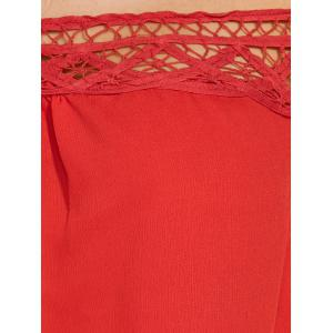 Off The Shoulder 3/4 Sleeve Chiffon Blouse - RED 2XL
