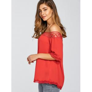 Off The Shoulder 3/4 Sleeve Chiffon Blouse -