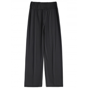 Long Stretch Elastic Waist Wide Leg Work Pants -