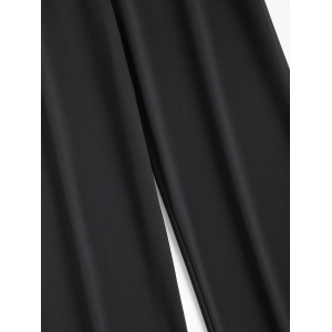 Long Stretch Elastic Waist Wide Leg Work Pants - BLACK 2XL
