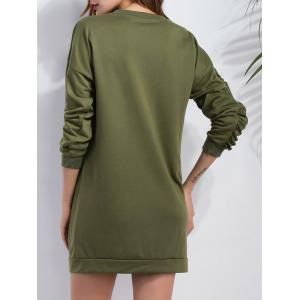 Ruffled Sleeve Short Sweatshirt  Dress - ARMY GREEN XL