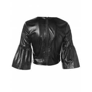Butterfly Sleeve PU Leather Crop Top - BLACK 2XL