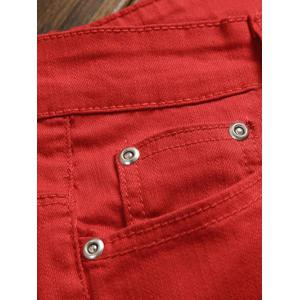 Pocket Rivet Knee Zippers Denim Jeans -