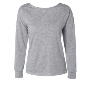 Loose Lace-Up Cut Out Sweatshirt - GRAY XL