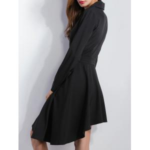 Asymmetric Dovetail Shirt Dress - BLACK M
