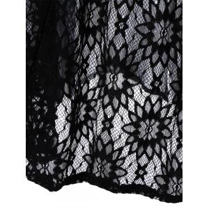Lace Panel Sheer Maxi Slip Dress - BLACK 2XL