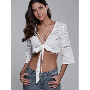 Plunging Neck Knotted T-Shirt - WHITE 2XL