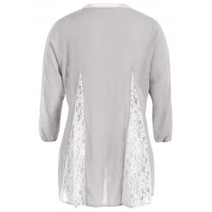 Lace Spliced Openwork Blouse -