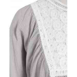 Lace Spliced Openwork Blouse - GRAY 3XL