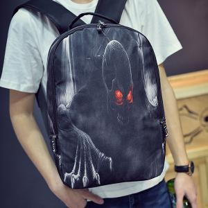 Color Spliced Skull Print Zipper Backpack -
