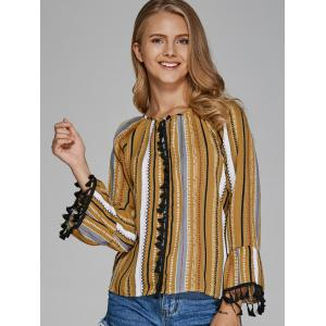 Colorful Striped Tribe Print Blouse -