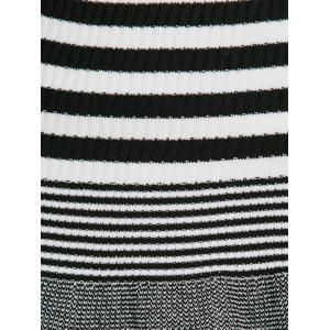 Striped V Neck Flounce Knitwear -