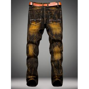 Holes Design Patched Dye Straight Leg Denim Pants - COLORMIX 38
