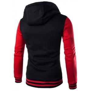 Hooded Stripe Rib Splicing Single-Breasted Drawstring Hoodie - RED 2XL