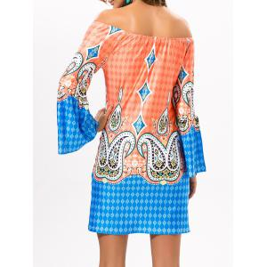 Off The Shoulder Diamond Print Mini Dress - ORANGEPINK 3XL