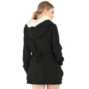Fake Fur Drawstring Parka Warm Hooded Coat - BLACK M