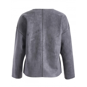 Faux Leather Collarless Jacket -