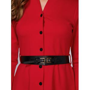 Swing Belted Button Up Dress -