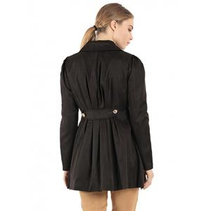 Slim Fit Double Breasted Dressy Trench Coat - BLACK 2XL