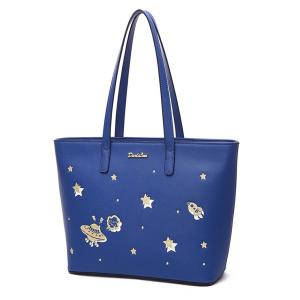 PU Leather Star Pattern Embroidery Shoulder Bag -