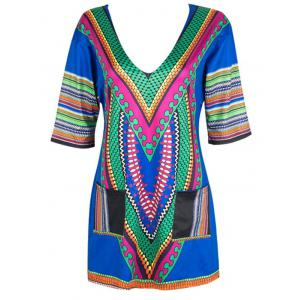 V Neck Ethnic Printed Mini Dress - BLUE L