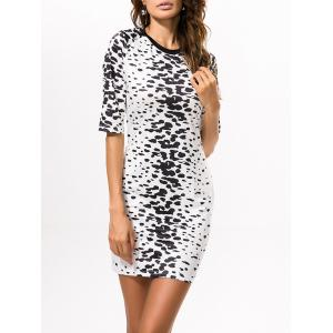 Bodycon Leopard Print Fitted T Shirt Dress - BLACK 2XL