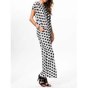 Polka Dot Print Loose Maxi Dress - WHITE AND BLACK 2XL