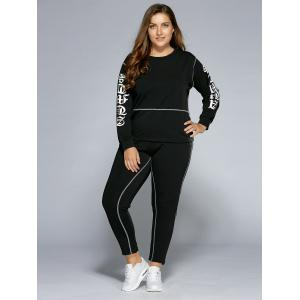 Graphic Sweatshirt and Pants - BLACK 4XL