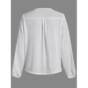 Patchwork Surplice Crochet-Trim Blouse -