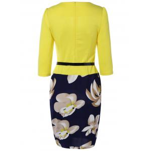 Floral Sheath Knee Length Pencil Work Dress - YELLOW 4XL