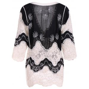 Lace Splicing Plunge Neck Blouse - BLACK 4XL