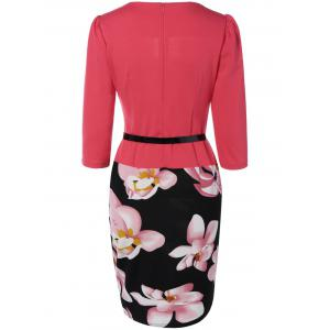 Floral Sheath Knee Length Pencil Work Dress -