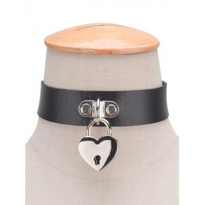 Faux Leather Love Heart Lock Choker - BLACK
