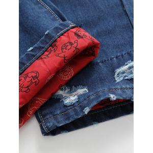 Zipper Fly Distressed Cartoon Printed Lining Jeans -