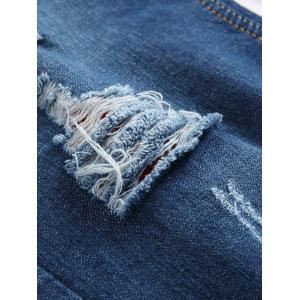 Zipper Fly Distressed Straight Leg Jeans - BLUE 30