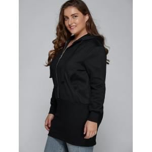Slim Zipper Design Hooded Sweatshirt Dress - BLACK 3XL
