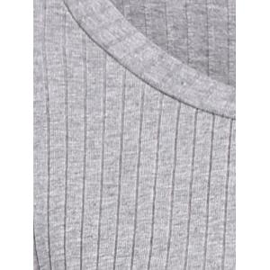 Long Sleeve High Low Sweater - GRAY 4XL