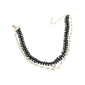 Rhinestone Braid Layered Choker Necklace - BLACK