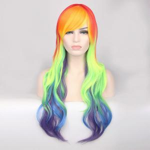 Cosplay Long Side Bang Wavy Rainbow Dash My Little Pony Synthetic Wig - COLORMIX
